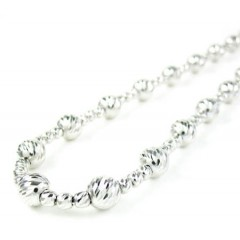 925 White Sterling Silver Diamond Cut Bead Chain 20 Inch 5.75mm