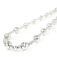 925 White Sterling Silver Diamond Cut Bead Chain 22 Inch 5.75mm