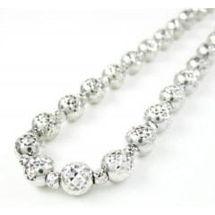 14k White Gold Diamond Cut Bead Chain 18-30 Inch 5.50mm