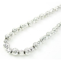 14k White Gold Diamond Cut Bead Chain 16-30 Inch 4.75mm