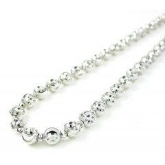 14k White Gold Diamond Cut Bead Chain 16-30 Inch 3.50mm