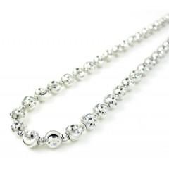 14k white gold diamond cut bead chain 16-30 inch 3.50mm
