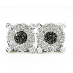 925 White Sterling Silver White & Black Diamond Earrings 0.50ct