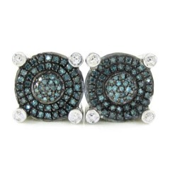 925 White Sterling Silver White & Blue Diamond Earrings 0.50ct
