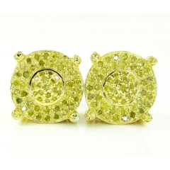 925 Yellow Sterling Silver Canary Diamond Earrings 0.90ct