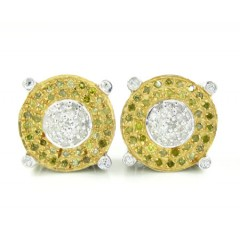925 White Sterling Silver Canary & White Diamond Earrings 0.90ct