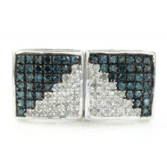 925 White Sterling Silver White & Blue Diamond Earrings 0.75ct