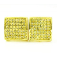 925 Yellow Sterling Silver Canary Diamond Earrings 0.75ct