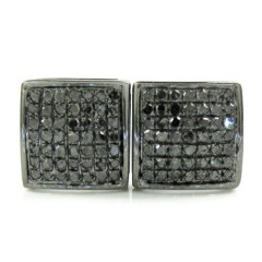 925 Black Sterling Silver Black Diamond Earrings 0.75ct
