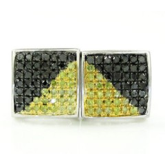 925 White Sterling Silver Canary & Black Diamond Earrings 0.75ct