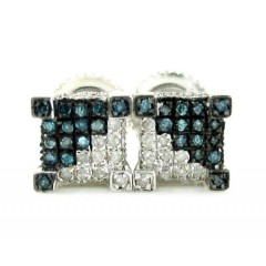 925 White Sterling Silver White & Blue Diamond Earrings 0.35ct