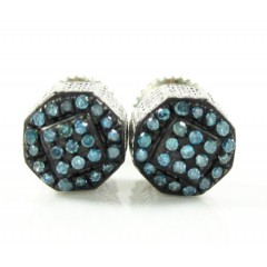 925 White Sterling Silver Blue Diamond Earrings 0.35ct