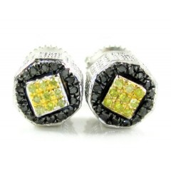 925 white sterling silver black & canary diamond earrings 0.35ct