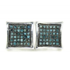 925 White Sterling Silver Blue Diamond Earrings 0.50ct