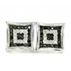 925 White Sterling Silver White & Black Diamond Earrings 0.50ct
