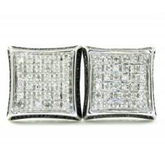 925 White Sterling Silver White & Black Diamond Earrings 0.35ct