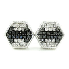 925 White Sterling Silver Black & White Diamond Earrings 0.35ct