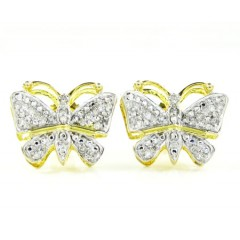 10k Gold Diamond Butterfly Earrings 0.25ct