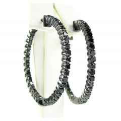 10k Black Gold Black Diamond Hoops 2.75ct
