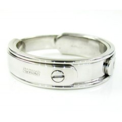 Mens Baraka 18k White Gold Wedding Band Screw Ring