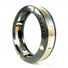 Mens Baraka 18k White & Rose Gold Black Ceramic Wedding Band Screw Ring