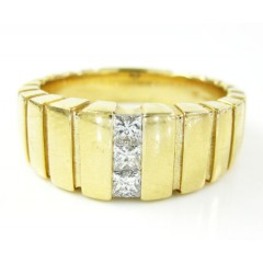 Mens 14k Yellow Gold Diamond Fashion Ring 0.34ct