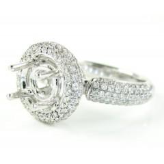Ladies 14k White Gold Diamond Semi Mount Ring 0.82ct