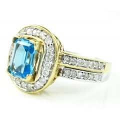 Ladies 14k Two Tone Gold Diamond & Aqua Blue Sapphire Fashion Ring 1.28ct