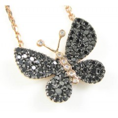 18k Rose Gold White & Black Diamond Butterfly Pendant 0.64ct