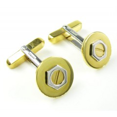 Mens Baraka 18k Yellow & White Gold Round Screw Cufflinks
