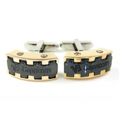 Mens Baraka 18k Rose & White Gold & Black Ceramic Capricorn Cufflinks