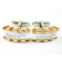 Mens Baraka 18k Rose & White Gold & White Ceramic Diamond Cufflinks 0.16ct