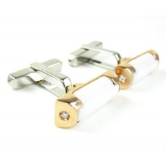Mens Baraka 18k Rose & White Gold & White Ceramic Diamond Cufflinks 0.08ct