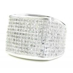 Mens 10k White Gold Diamond Pave Full Ice Ring 2.00ct