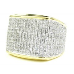 Mens 10k Yellow Gold Diamond Pave Full Ice Ring 2.00ct