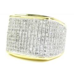 Mens 10k Yellow Gold Diamond Pave Full Ice Ring 2.00ct