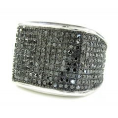 Mens 10k White Gold Black Diamond Pave Full Ice Ring 2.00ct
