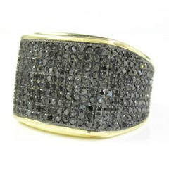 Mens 10k Yellow Gold Black Diamond Pave Full Ice Ring 2.00ct