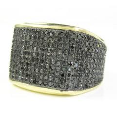 Mens 10k Yellow Gold Black Diamond Pave Full Ice Ring 2.00ct