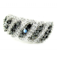 Ladies 14k White Gold Black & White Diamond Fashion Ring 1.15ct