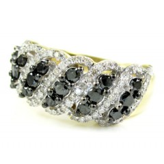 Ladies 14k Yellow Gold Black & White Diamond Fashion Ring 1.15ct