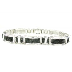 925 Sterling Silver Black Diamond Bracelet 2.15ct