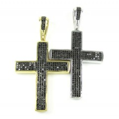 Mens 14k Gold Black Diamond Cross 1.15ct