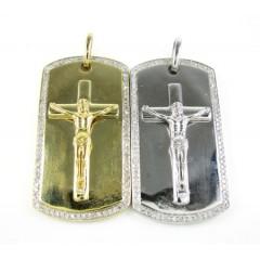 Mens 10k gold diamond jesus cross dog tag pendant 0.55ct