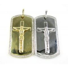 Mens 10k Gold Diamond Jesus Cross Dog Tag Pendant 0.55ct