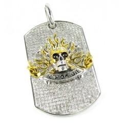 Mens 10k Gold Diamond do Or Die Skeleton Dog Tag Pendant 0.55ct