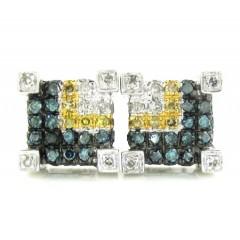 10k White Gold Canary Blue & White Diamond Earrings 0.85ct