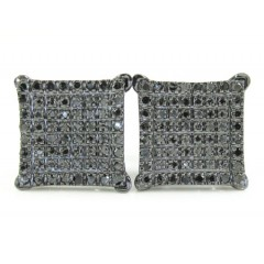 925 Black Sterling Silver Black Diamond Earrings 0.50ct