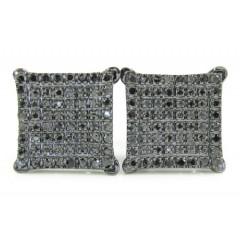 925 Black Sterling Silver Black Diamond Earrings 0.50ct
