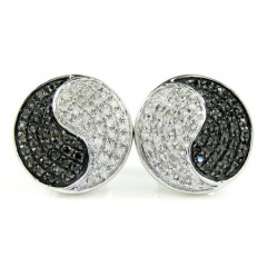 925 White Sterling Silver Round Ying Yang Earrings 0.15ct